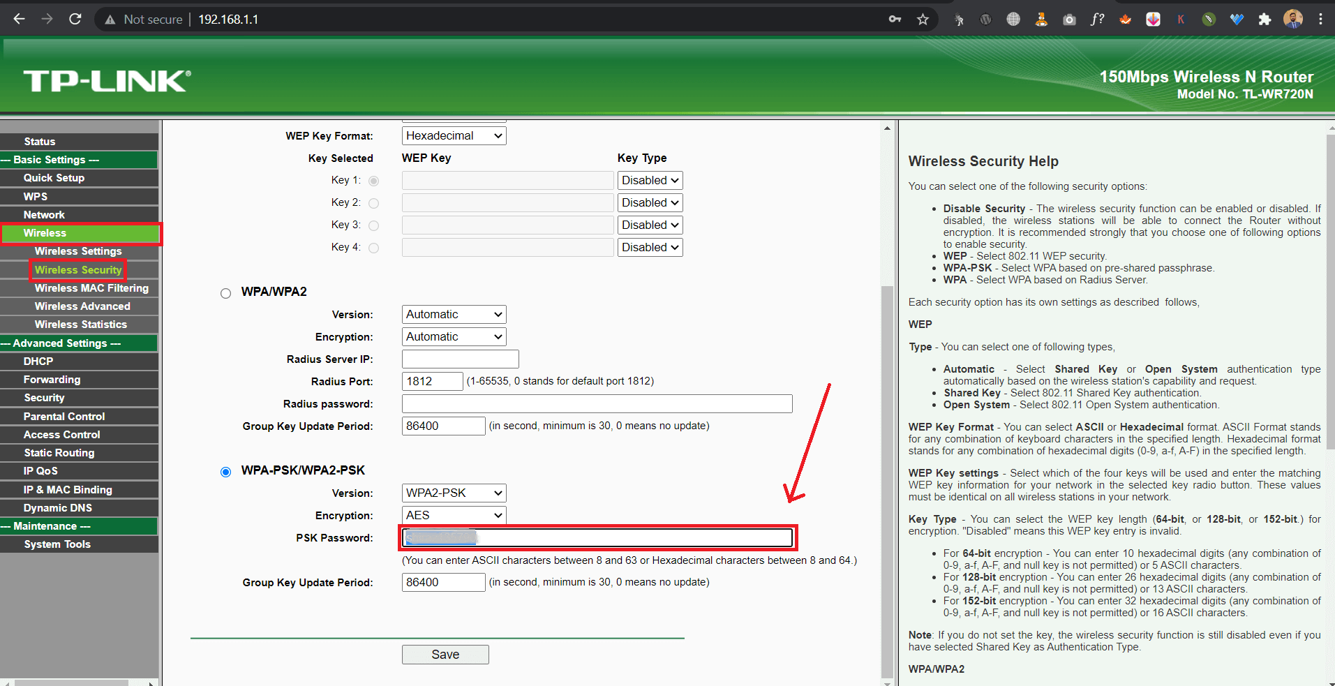 how to change router password