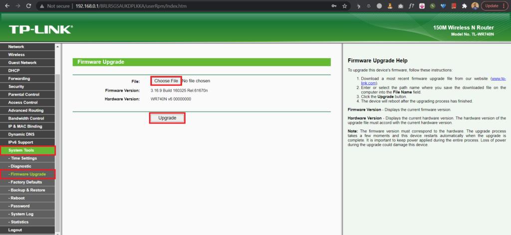 choosing a file to update firmware